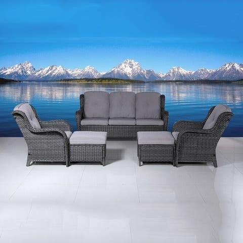 5-piece Outdoor Sofa Set With Cushions Wicker Furniture by Moda Furnishings