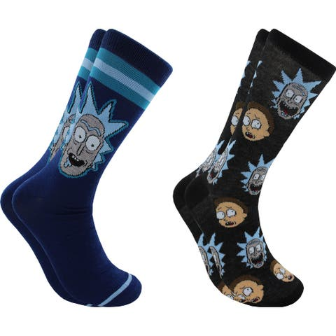 Hyp Rick & Morty Faces Men's Crew Socks 2 Pair Pack Shoe Size 6-12