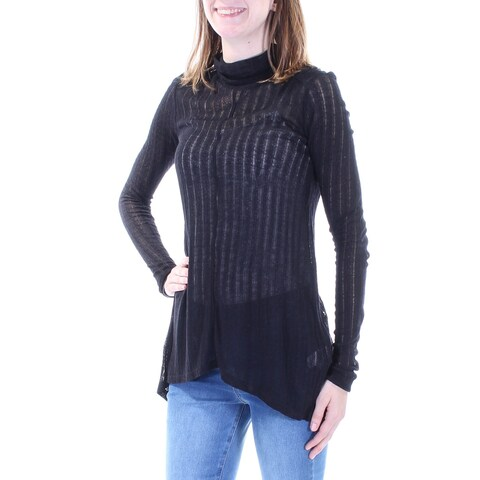 LUCKY BRAND Womens Black Sheer Slitted Long Sleeve Turtle Neck Trapeze Top Size: XS