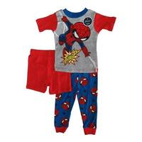 Marvel Little Toddler Boys Red Spiderman Cotton Short Sleeve 3 Pc Pajama