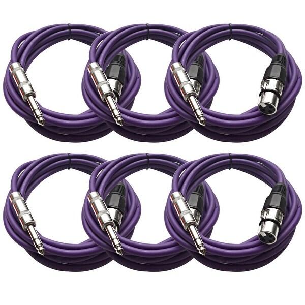 """Seismic Audio SEISMIC (6) Purple 1/4"""" TRS XLR Female 10' Patch Cables"""