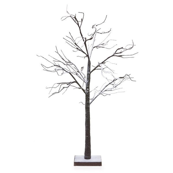 "48"" LED Lighted Poseable Snowy Brown Leafless Twig Tree Christmas Table Top Decoration - Warm White Lights"
