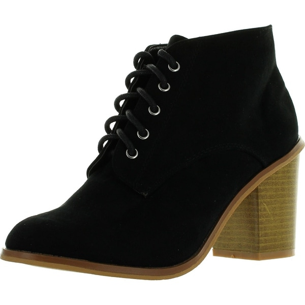 Qupid Varsity-01X Suede Lace Up Booties