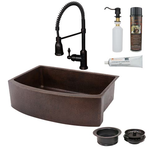 Premier Copper Products KSP4_KASRDB33249 Kitchen Sink, Spring Faucet and Accessories Package