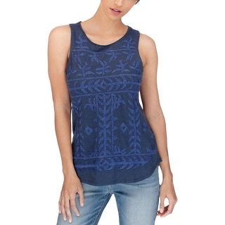 Lucky Brand Womens Casual Top Cotton Embroidered