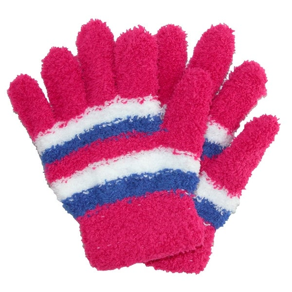 CTM® Girls' Buttersoft Magic Stretch Striped Gloves