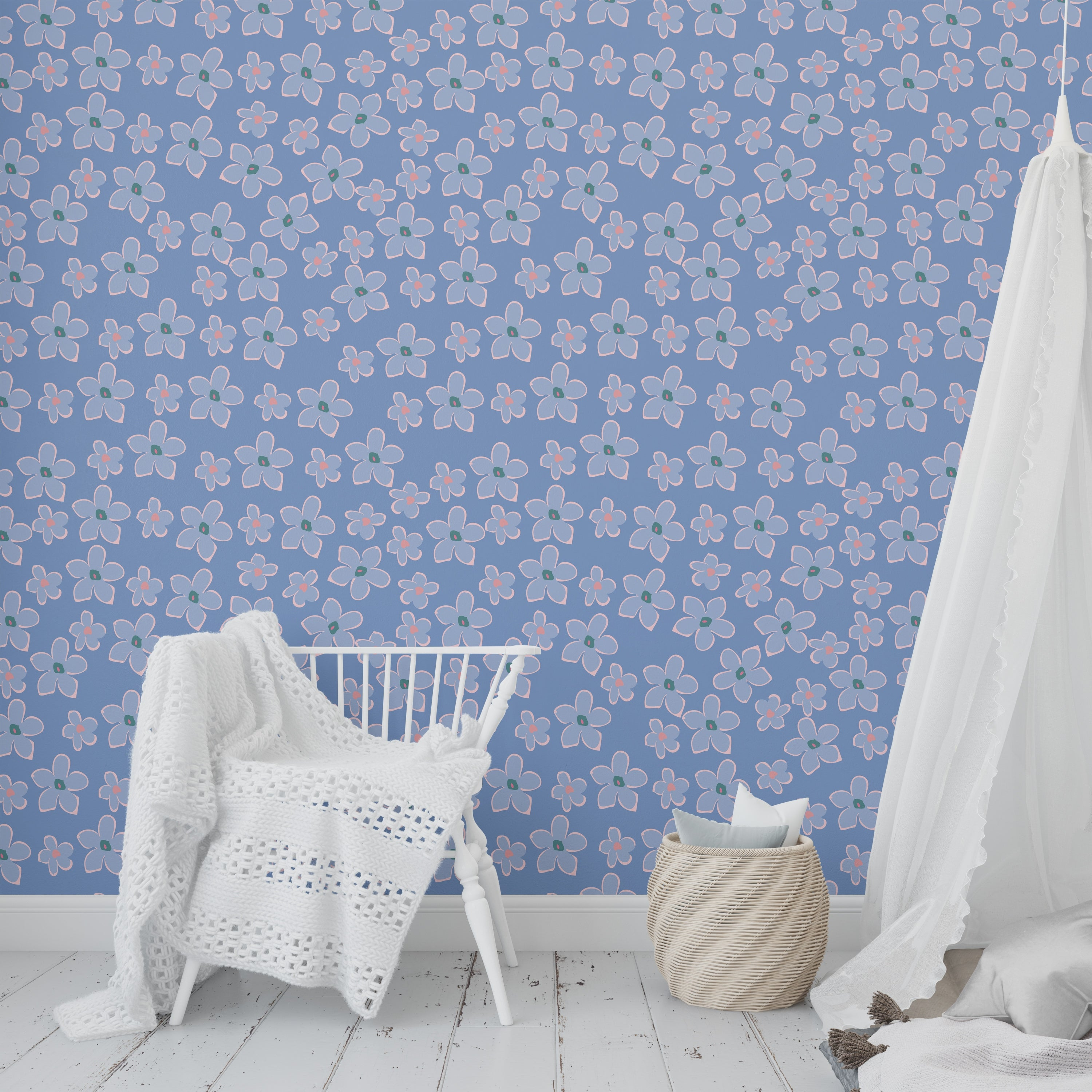 Shop Boho Floral Blue Peel And Stick Wallpaper By Kavka Designs 2 X 16 On Sale Overstock 31638044