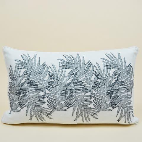 Jiti Multi Palm Floral Embroidery Linen Lumbar Pillow - 12 x 20