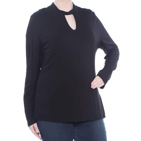 INC Womens Black Cutout Twist Mock Neck Long Sleeve Sweater Plus Size: XXL