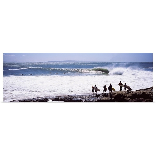 """Silhouette of surfers standing on the beach, Australia"" Poster Print"