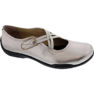 Ros Hommerson Women's Cozy Cross Strap Flat Pewter Leather