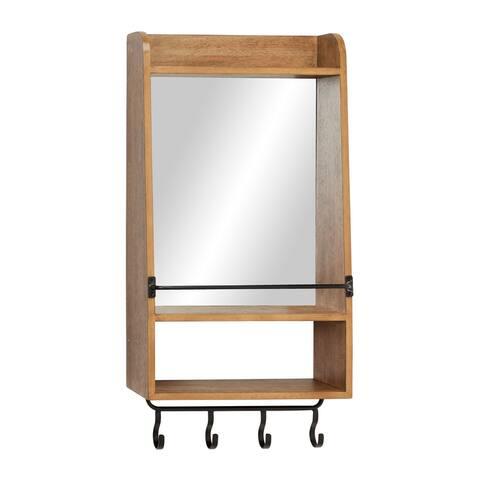 "Rectangular Natural Wood Wall Mirror w Shelf and 4 Iron Hanging Hooks 16"" x 32"" - 16 x 7 x 32"