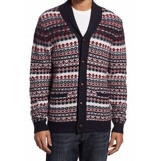 1901 NORDSTROM NEW Blue Red Mens Size Medium M Cardigan Wool Sweater