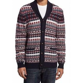 1901 NORDSTROM NEW Red Blue Men Large L Fair Isle Cardigan Wool Sweater