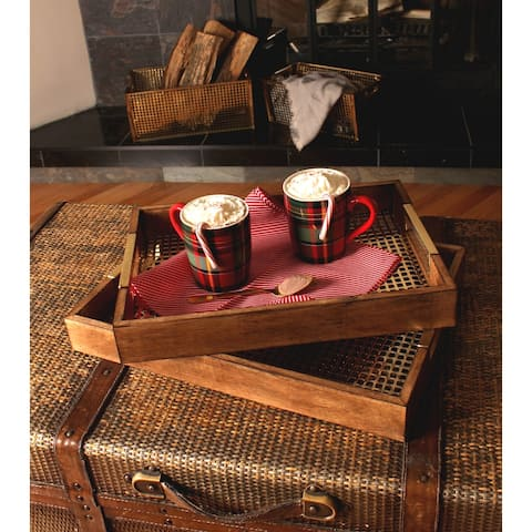 Kate and Laurel Hanneli Wood and Metal Decorative Trays (Set of 2) - 18x13x2.25