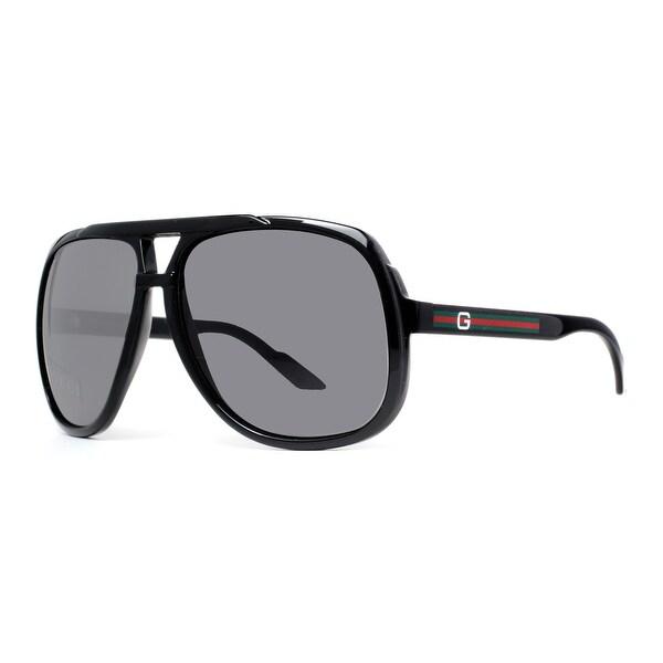 GUCCI Aviator GG 1622/S Unisex D28/R6 Shiny Black/Dark grey Shiny Black Dark grey Sunglasses - 63mm-14mm-130mm