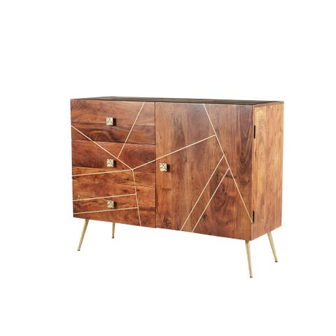 "Rectangular Wood 3-Drawer Buffet Cabinet With Gold Metal Abstract Patterned Inlay And Base 46"" X 36"" - 46 x 16 x 36"