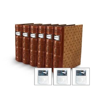 Bellagio-Italia DVD/CD Storage Tuscany Cognac Binder 6-Pack with 3 Insert Sheets