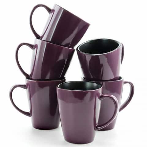 Elama Mulberry 14 oz Stoneware Mugs in Purple, Set of 6