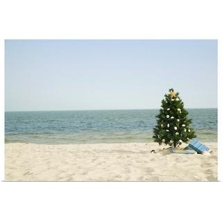 """Christmas tree on beach"" Poster Print"