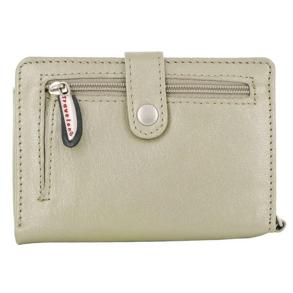 Travelon Leather Wallet/Wristlet in One (Beige)