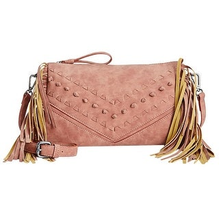 Danielle Nicole Womens Cara Crossbody Handbag Faux Leather Fringe - MEDIUM