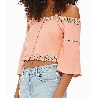 TopShop Coral Orange Womens Size 12 Lace-Trim Cropped Knit Top