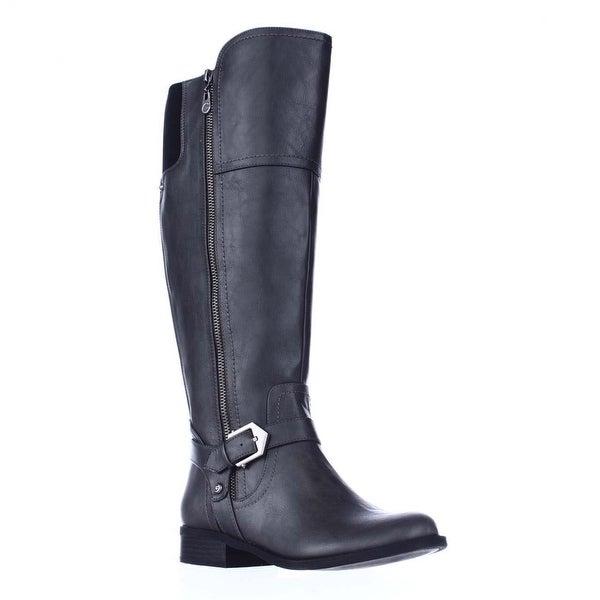 G GUESS Hailee Wide Calf Riding Boots, Dark Gray