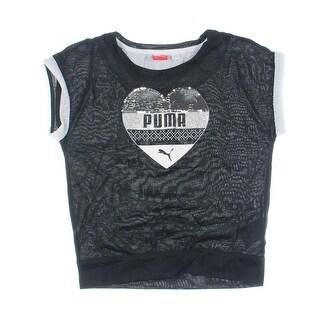 Puma Girls Flash Dance Glitter Sequined T-Shirt - L