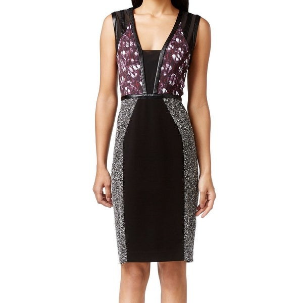 Rachel Roy NEW Black Women's Size 0 Colorblock Knit Sheath Dress