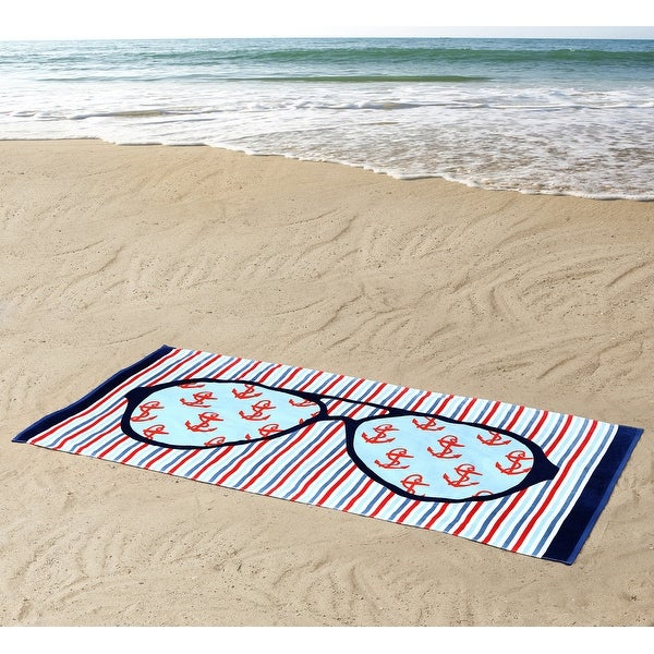 Seedling By Thomas Paul Sunglasses Design Beach Towel, Blue-Red, 36x72 Inches - Red