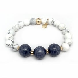White Howlite 'Trinity' stretch bracelet 14k Over Sterling Silver