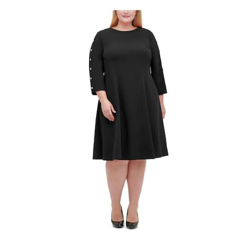 TOMMY HILFIGER Black Long Sleeve Knee Length Dress 16W
