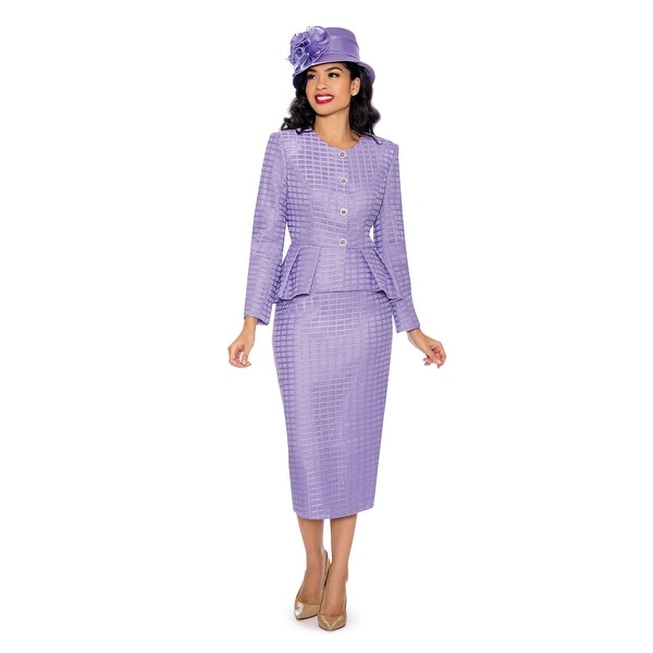 bdfe2badc8e27 Shop Giovanna Collection Women's Peplum 2-pc Knitted Lace Skirt Suit ...