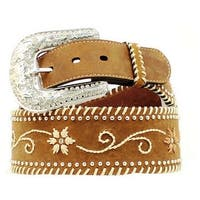 Nocona Western Belt Womens Wide Floral Embroidery Brown