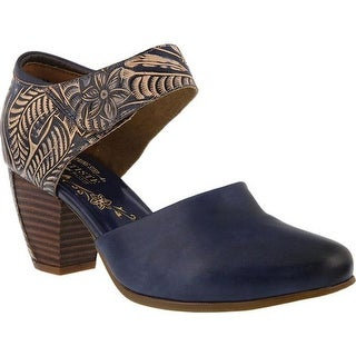 L'Artiste by Spring Step Women's Toolie Heeled Mary Jane Blue Leather