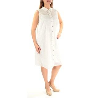 CALVIN KLEIN $139 Womens New 1158 White Textured Sleeveless Dress 14W Plus B+B