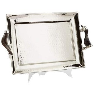 """Cyan Design 8858 12"""" Tall Hammered Finish Decorative Tray - Stainless Steel"""