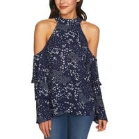 1.State Blue Women's Size Small S Floral Cold-Shoulder Halter Top