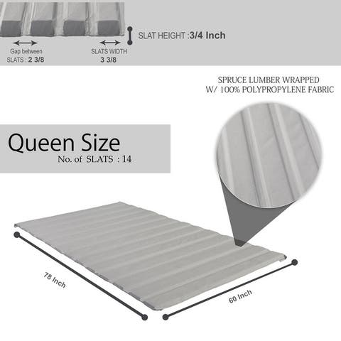 ONETAN, 0.75-Inch Heavy Duty Mattress Support Wooden Slats/Bunkie Board With Cover.