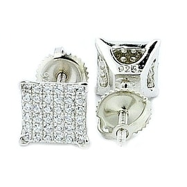 7mm Stud Earrings Screw Back Square Square Shaped Pave Set Silver