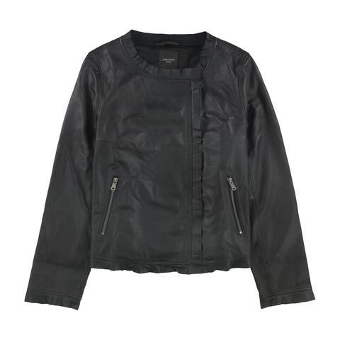 MaxMara Womens Barni Leather Jacket, black, 12
