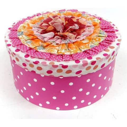 """10.5"""" Pink and White Round Contemporary Gift Box"""