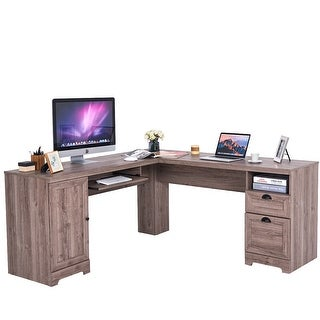 Costway L-Shaped Corner Computer Desk Writing Table Study Workstation w/ Drawers Storage
