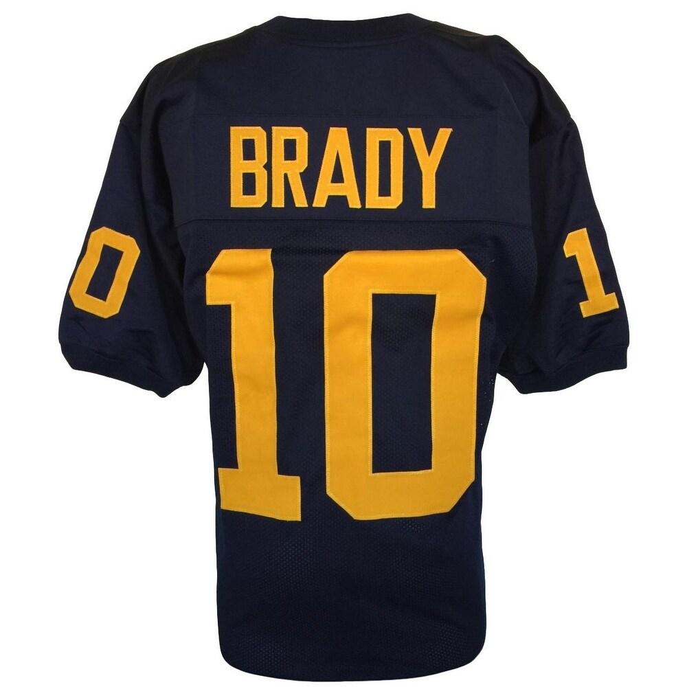 Tom Brady Custom Blue College Football Jersey Size Large