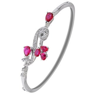 Red Cubic Zirconia Sterling Silver Pear Bracelet Bangles by Orchid Jewelry