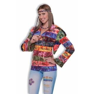 60's 70's Hippie Hooded Rainbow Costume Jacket Adult Standard