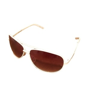 Ellen Tracy Womens Sunglass 518 2 White Metal Avaitor, Brown Gradient Lens - Medium