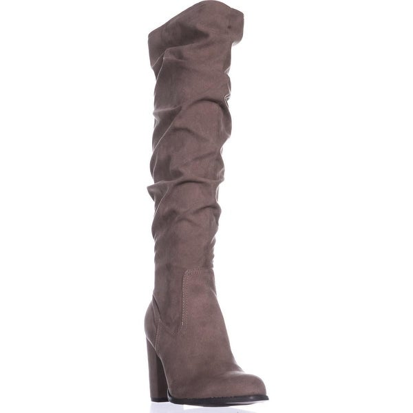madden girl Cinder Knee-High Slouch Boots, Dark Taupe - 9 us