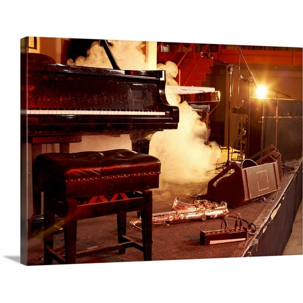 """""""Piano, Saxophone and Microphone Stands on a Smoky Stage"""" Canvas Wall Art"""